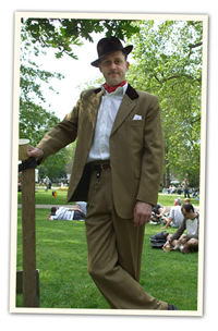 Thirties tan suit with velvet collar